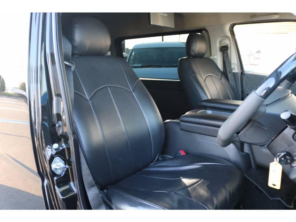 全席ブラックレザーシートカバー付き! | トヨタ ハイエース 2.7 GL ロング ミドルルーフ