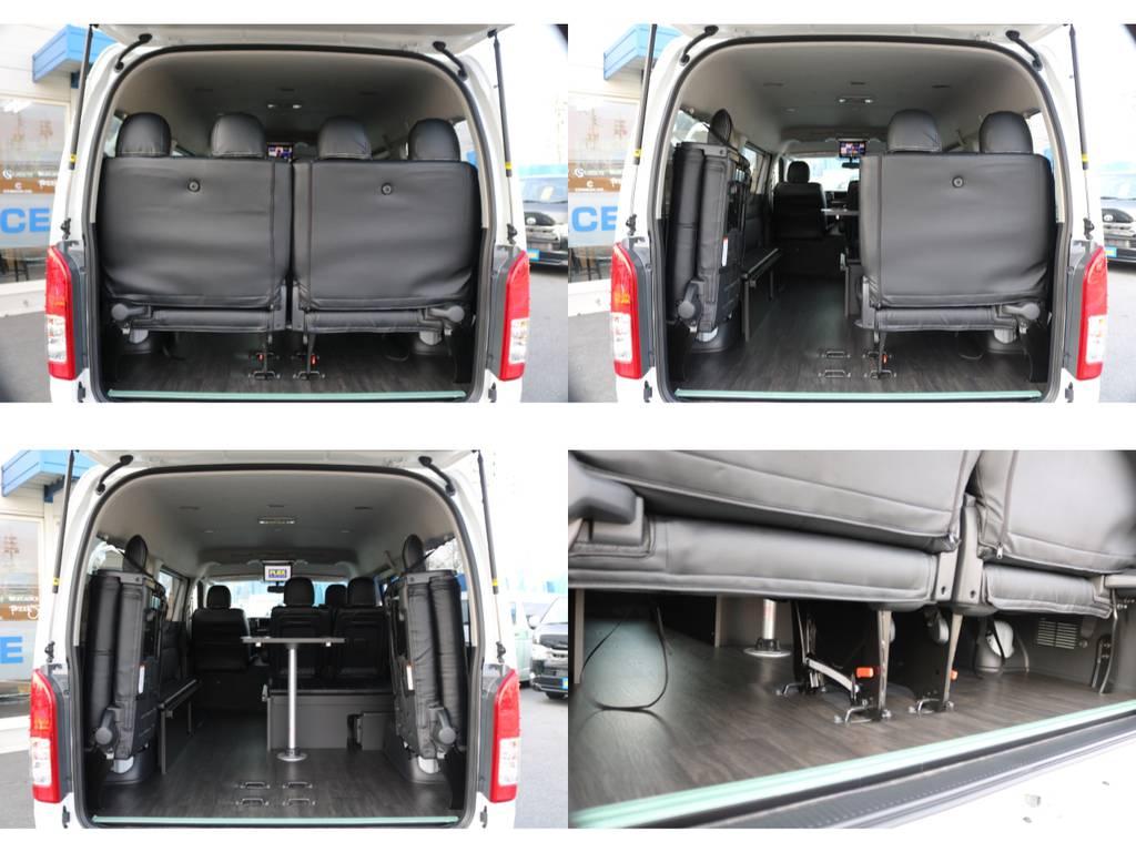 【トランクルーム】女性の方でも簡単に変更可能なトランクレイアウト♪お掃除もラクラクな床張り施工も致しました☆ | トヨタ ハイエース 2.7 GL ロング ミドルルーフ アレンジR1 ベッドキット