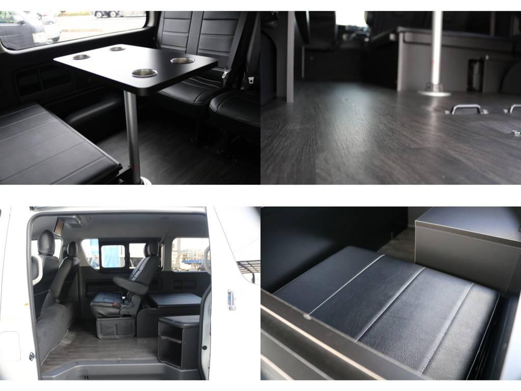【キャンピングテーブル・ベッドマット収納標準装備】後席の快適性をUPさせる工夫も盛り沢山です♪ | トヨタ ハイエース 2.7 GL ロング ミドルルーフ アレンジR1 ベッドキット