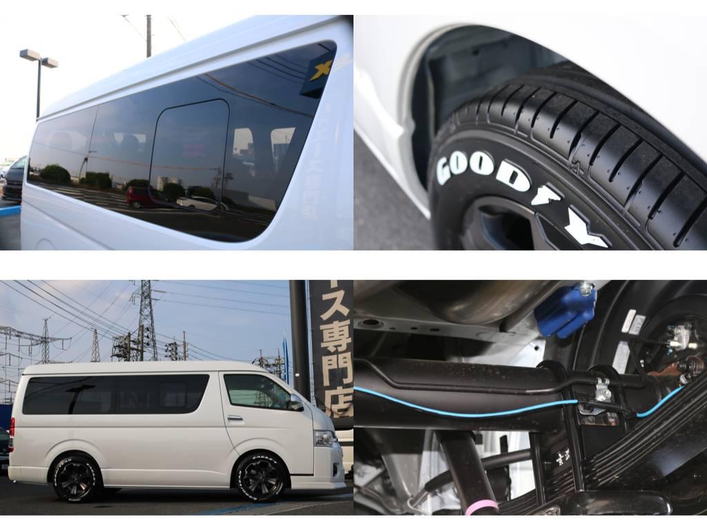 開閉式スライドガラス採用・新品グッドイヤータイヤset・玄武製足回りパーツetc | トヨタ ハイエース 2.7 GL ロング ミドルルーフ アレンジR1 ベッドキット