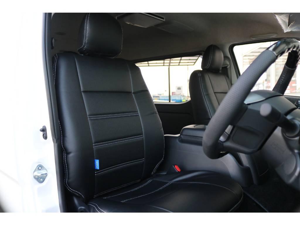 【全席グレイス製黒革調シートカバー標準装備♪】 | トヨタ ハイエース 2.7 GL ロング ミドルルーフ アレンジR1 ベッドキット