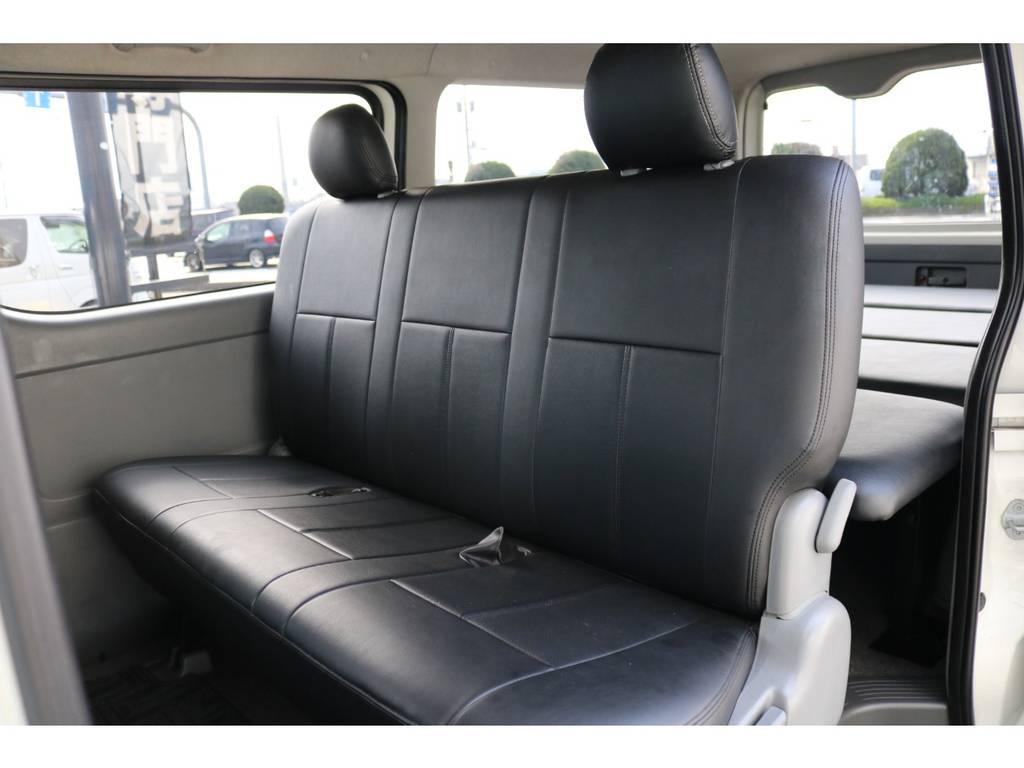 後席もブラックレザーシートカバー完備!   トヨタ レジアスエース 3.0 スーパーGL ロングボディ ディーゼルターボ
