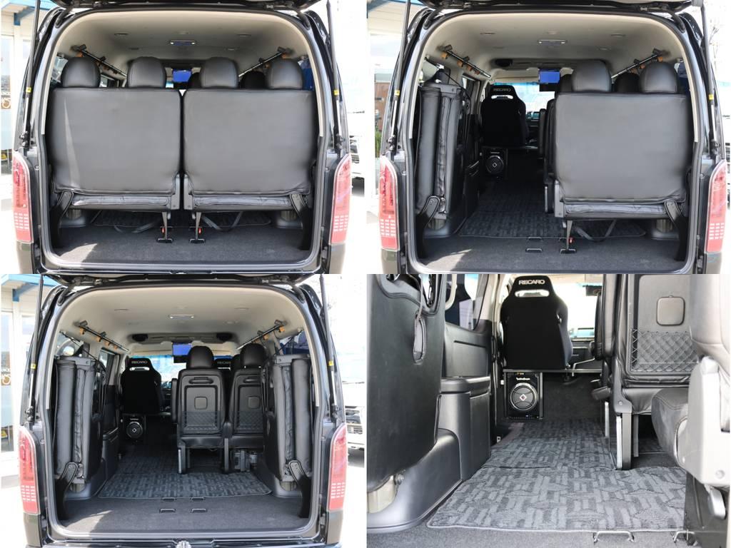 4列目は左右跳ね上げが可能でラゲッジスペースも確保できます! | トヨタ ハイエース 2.7 GL ロング ミドルルーフ 4WD ナビ フリップ RECAROシート搭載