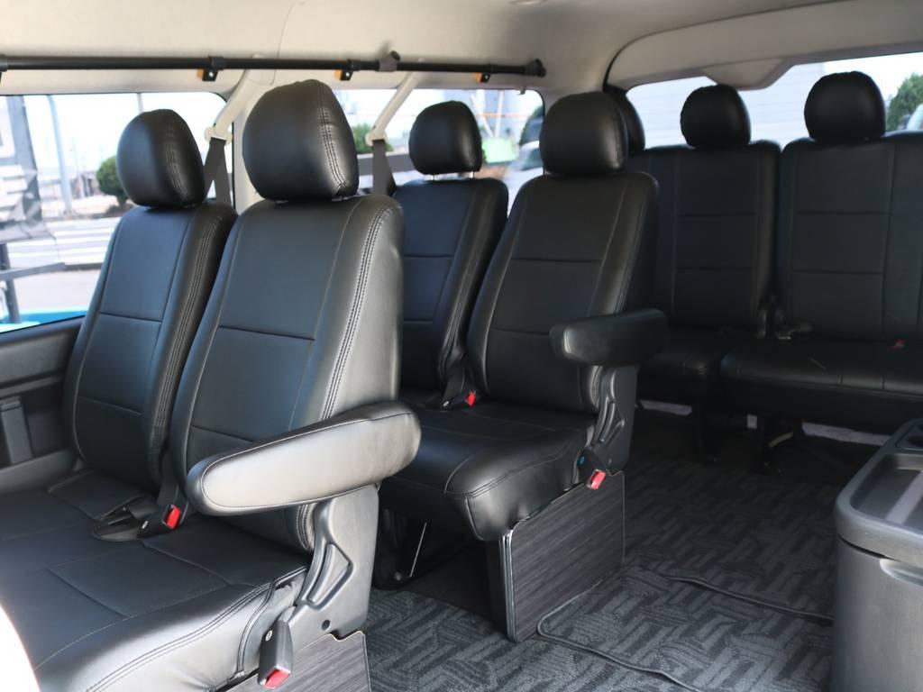 ブラックレザーシートカバー! | トヨタ ハイエース 2.7 GL ロング ミドルルーフ 4WD ナビ フリップ RECAROシート搭載