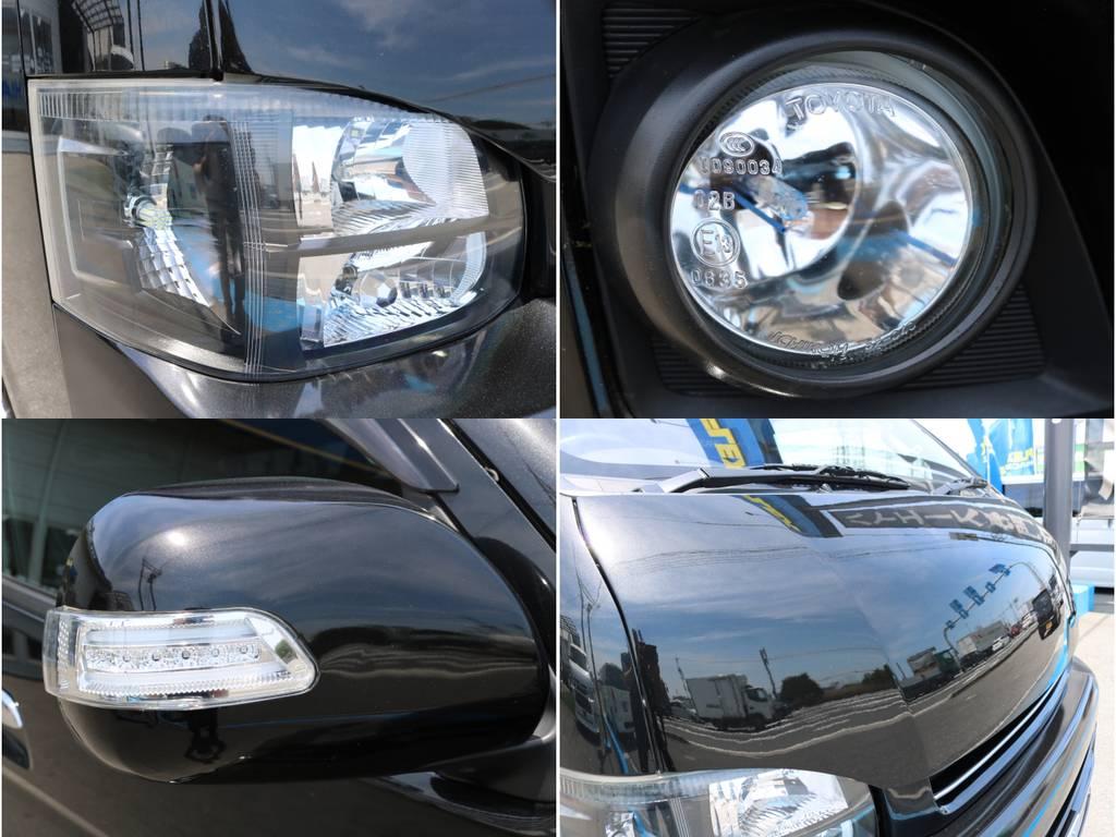 ドアミラーウインカー!インナーブラックヘッドライト!HIDフォグ! | トヨタ ハイエース 2.7 GL ロング ミドルルーフ 4WD ナビ フリップ RECAROシート搭載