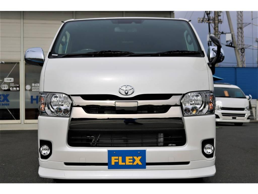 新品FLEXオリジナルフロントスポイラー!大人気商品です! | トヨタ ハイエースバン 2.8 スーパーGL ダークプライムⅡ ロングボディ ディーゼルターボ ライトカスタムPKG 即納可能♪