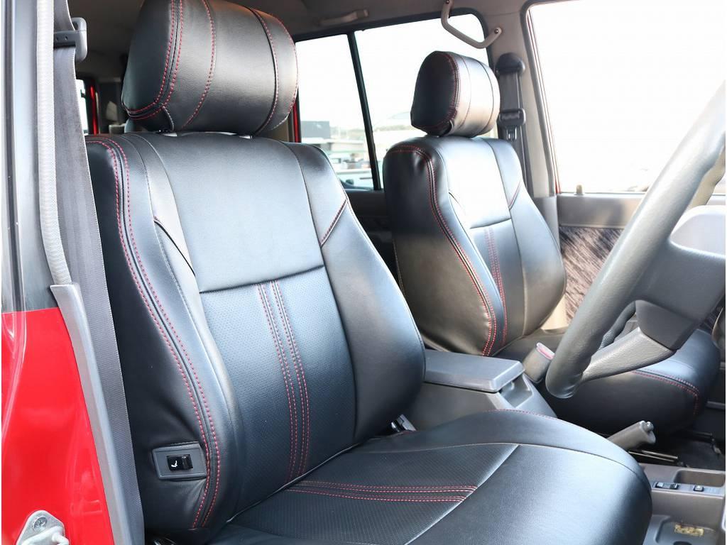 レッドステッチのシートカバーはボディとの絶妙なバランス!!赤に赤での差し色は素敵すぎます!!