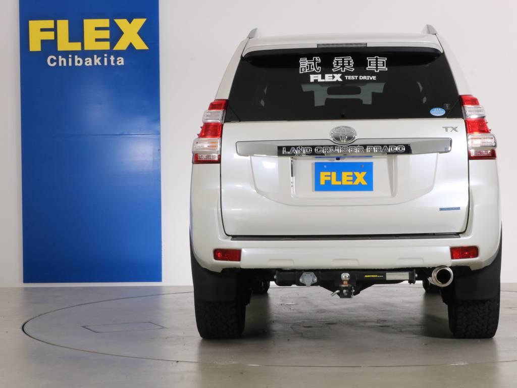 リアビューもバックフォグやヒッチメンバー・FLEXオリジナルマフラーなどカスタムのお手本が満載です! | トヨタ ランドクルーザープラド 2.7 TX 4WD 20インチAW 2UP 試乗車