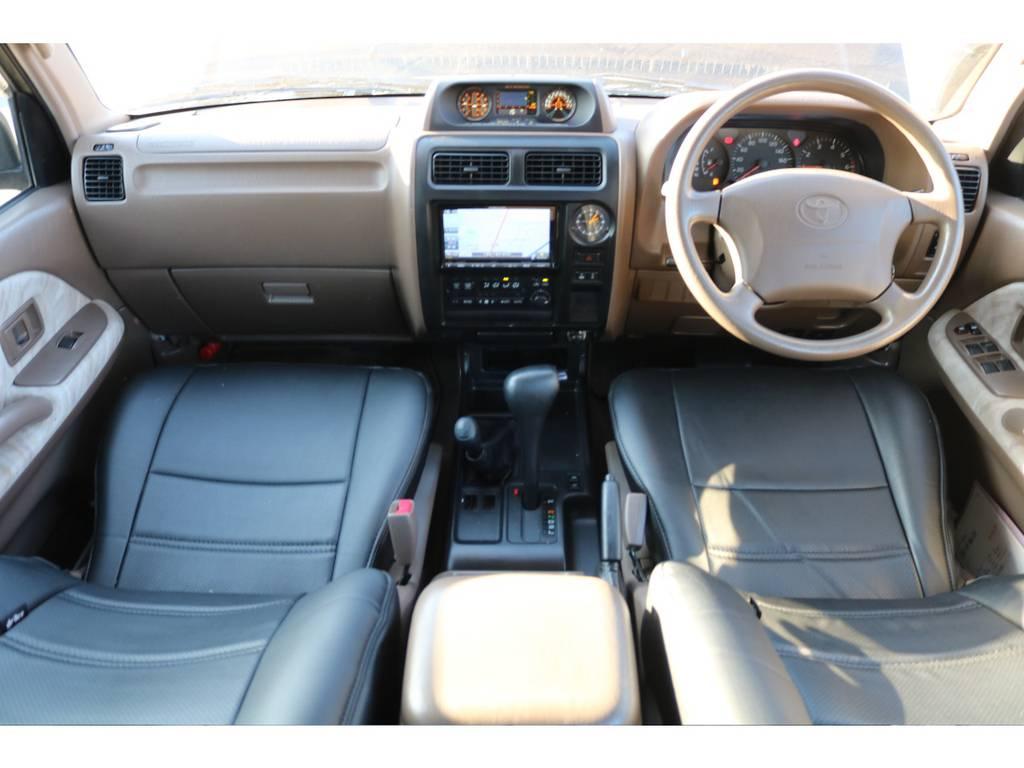 広々したインパネに大きなFガラスで運転視界もグッド! | トヨタ ランドクルーザープラド 3.4 TX 4WD 丸目 ナロー仕様
