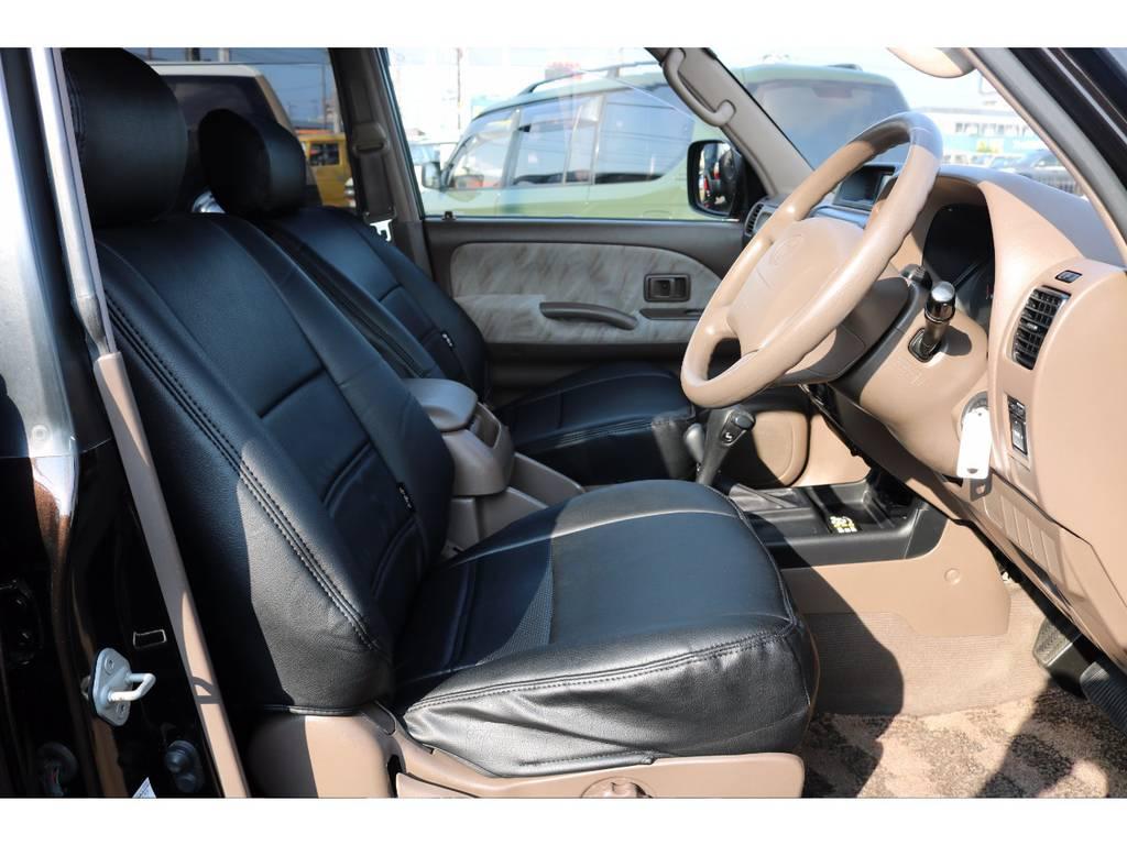 柔らかめなファブリックシート!座り心地もグッド!シートカバーも装着済み! | トヨタ ランドクルーザープラド 3.4 TX 4WD 丸目 ナロー仕様
