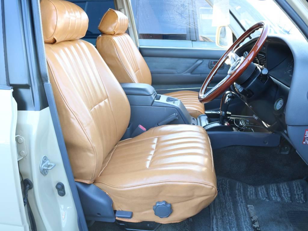 柔らかめなファブリックシート!座り心地もグッド!シートカバーも多種取り扱いございますのでご相談ください。 | トヨタ ランドクルーザー80 4.5 VXリミテッド 4WD 『86』 丸目 60フェイス