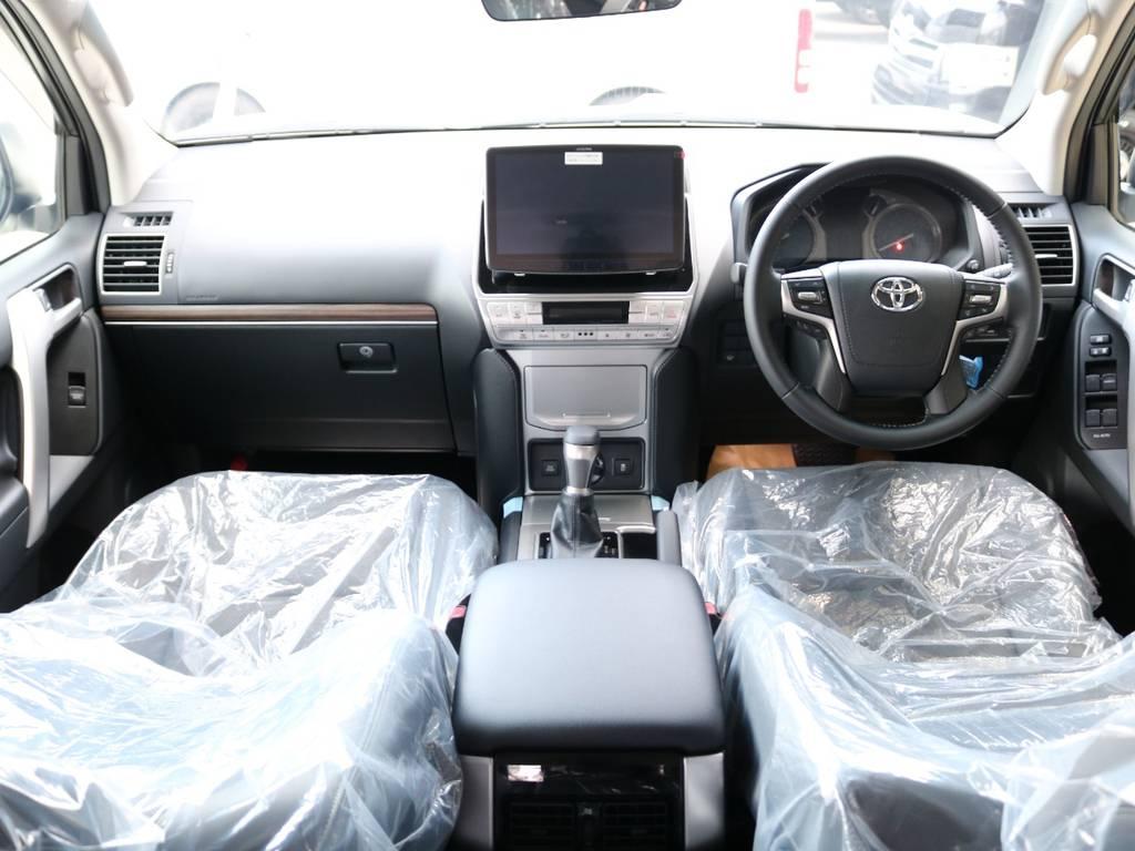 広々したインパネに大きなFガラスで運転視界もグッド! | トヨタ ランドクルーザープラド 2.7 TX Lパッケージ 4WD 新車未登録車 11インチナビ