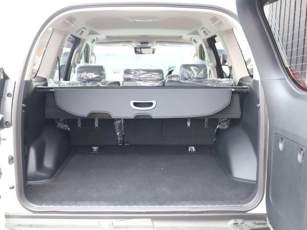 広々したラゲッジルーム!大容量でキャンプ用品なども沢山収容できます! | トヨタ ランドクルーザープラド 2.7 TX Lパッケージ 4WD 新車未登録車 11インチナビ
