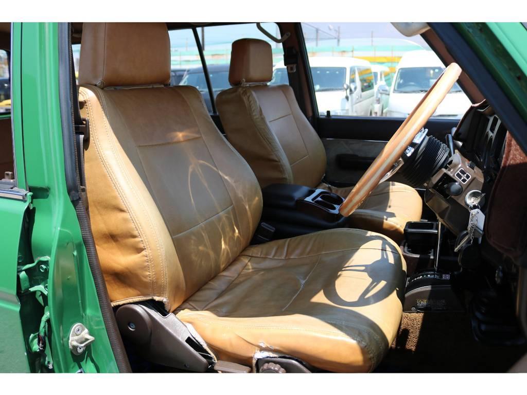 キャメルシートカバー装着済み!座り心地もグッド!シートカバーも多種取り扱いございますのでご相談ください。 | トヨタ ランドクルーザー60 4.0 VX ロールーフ角目 4WD ロールーフ オートマ SDナビ