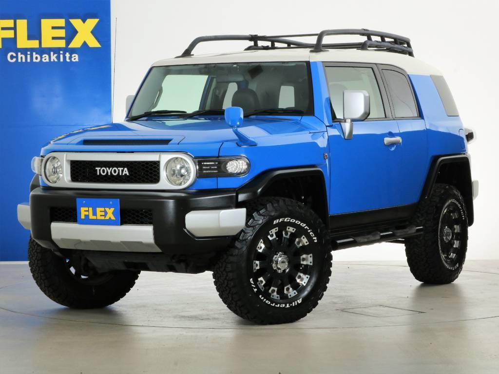 希少ブルーのFJクルーザーの入庫です! | トヨタ FJクルーザー 4.0 カラーパッケージ 4WD 2インチUP HDDナビ バックカメラ