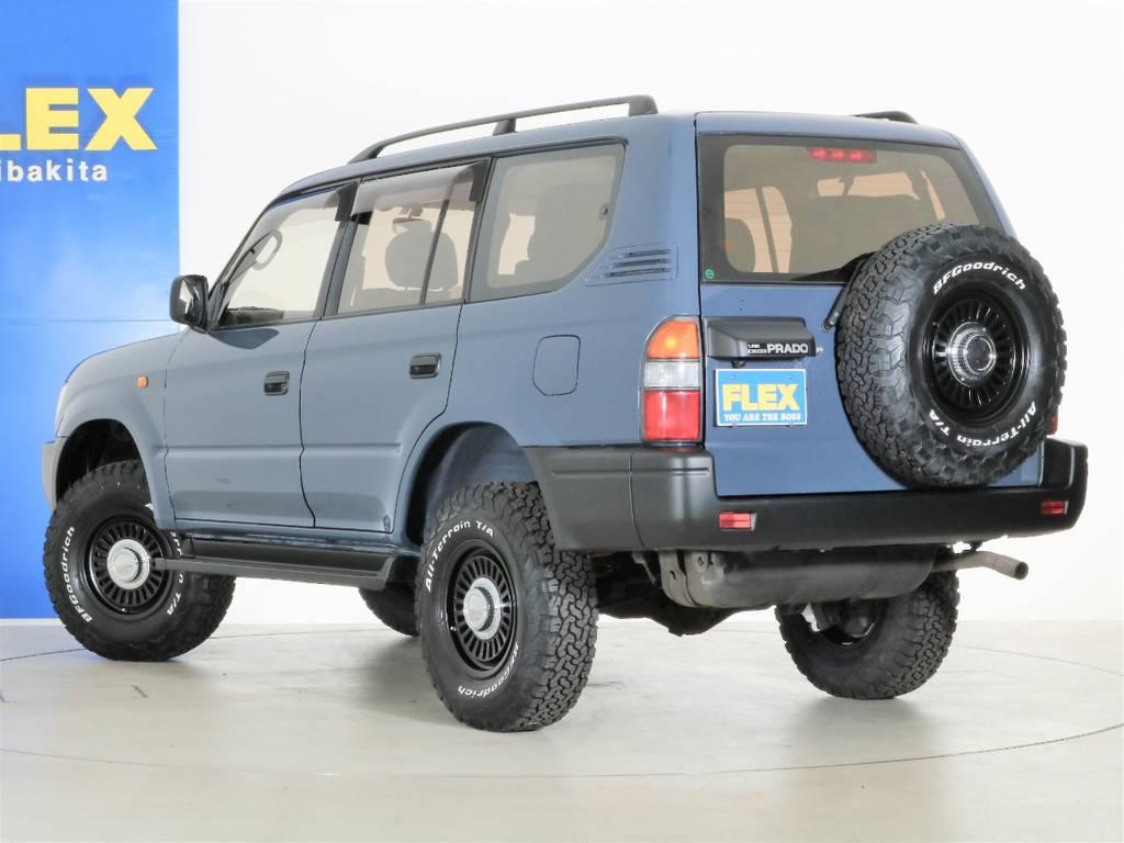 背面タイヤも揃えて交換しております☆ | トヨタ ランドクルーザープラド 2.7 TX 4WD ナロー仕様 SDナビ ETC Bカメラ
