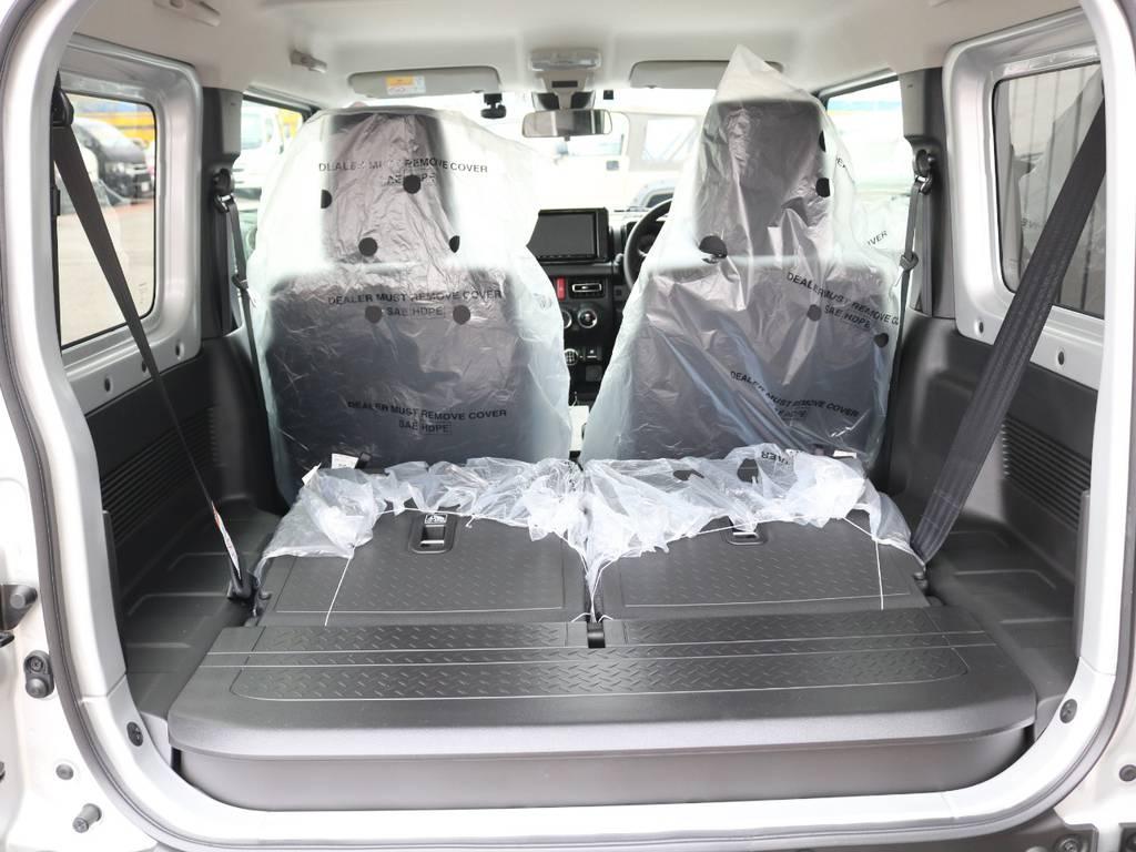 後部座席は倒せば荷室は広々☆ | スズキ ジムニーシエラ 1.5 JC 4WD 8インチナビ ETC Bカメラ