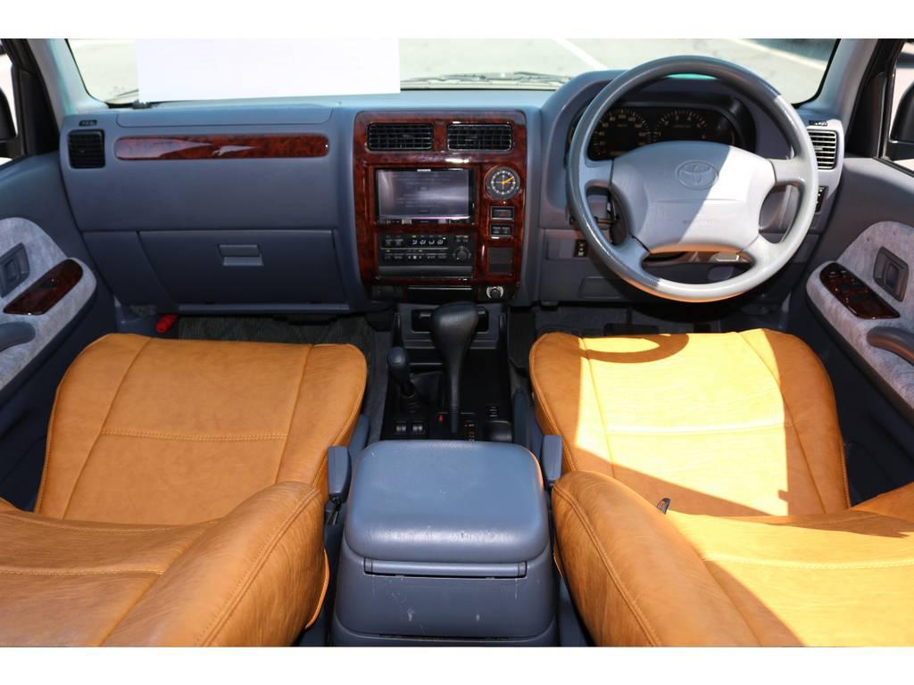 オリジナルシートカバーを新品装着しました!アメリカンでレトロな雰囲気が漂うカッコ良くもオシャレな1台☆   トヨタ ランドクルーザープラド 2.7 TX 4WD ナロー仕様 2インチUP