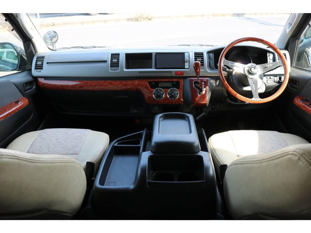 内装の雰囲気にぴったりなナルディステアリングです! | トヨタ ハイエースバン 2.7 スーパーGL ワイド ロング ミドルルーフ 4WD CoastLines