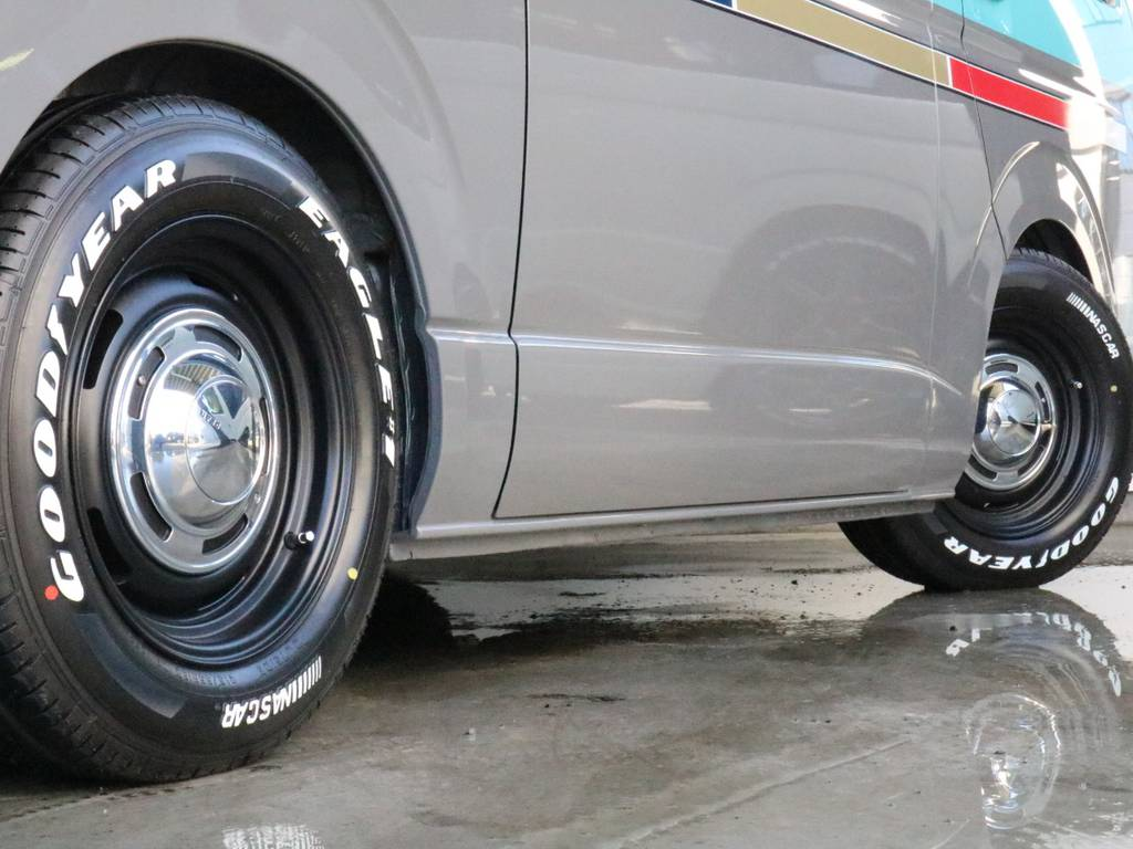 クリムソンクロスカントリー16インチアルミホイール! グッドイヤーイーグルナスカータイヤ!   トヨタ レジアスエース 2.7 スーパーGL ワイド ミドルルーフ ロングボディ CoastLines内装FU-Wスライ