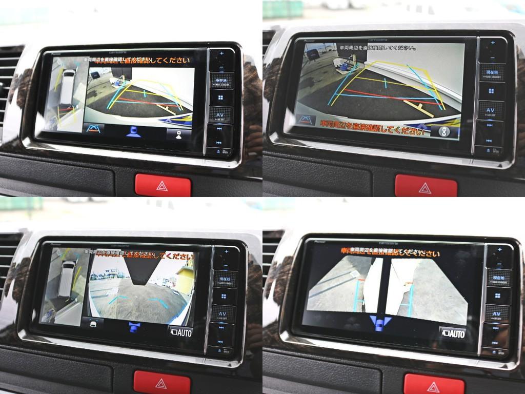 バックカメラ連動施工済み! 新メーカーオプションのパノラミックビューによって車の周囲を見下ろす形で視認できるようになりました。ドライバーのパーキングをアシストします。