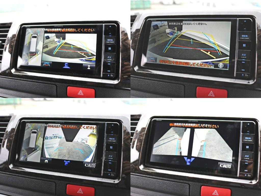 バックカメラ連動施工済み! 新メーカーオプションのパノラミックビューによって車の周囲を見下ろす形で視認できるようになりました。ナビはカロッツェリアAVIC-RW810-Dフルセグナビを採用しています!