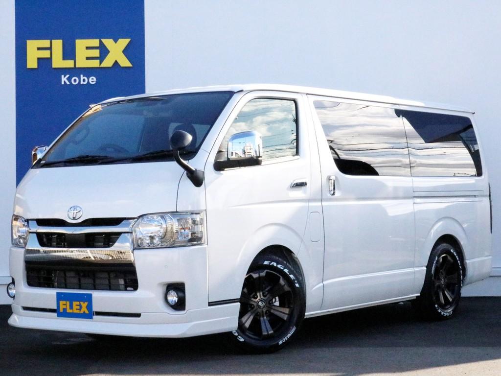 新車未登録 6型ハイエースバン 2.0ガソリン2WD ダークプライム2 トヨタセーフティセンス搭載車両がFLEXハイエース神戸店で完成しました! ピッカピカの新型新車です!