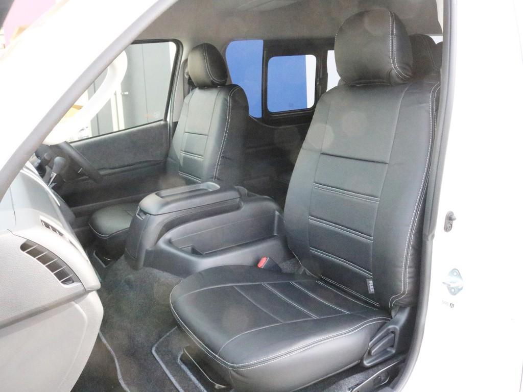 レザー調シートカバーを装着済み! 高級感を演出すると共にシートの保護効果も期待出来ます。