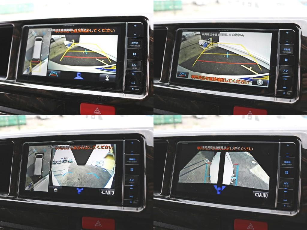 新たにメーカーオプションに加わったパノラミックビューモニターを完備! 車両を上からみたような映像をナビ画面に表示し、周辺の安全確認をサポートします。