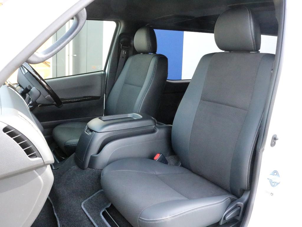ダークプライムⅡ特別仕様車なので専用のハーフレザーシートが設置されています。そのままハーフレザーシートを楽しむのも、追加でシートカバーを装着するのも貴方次第!