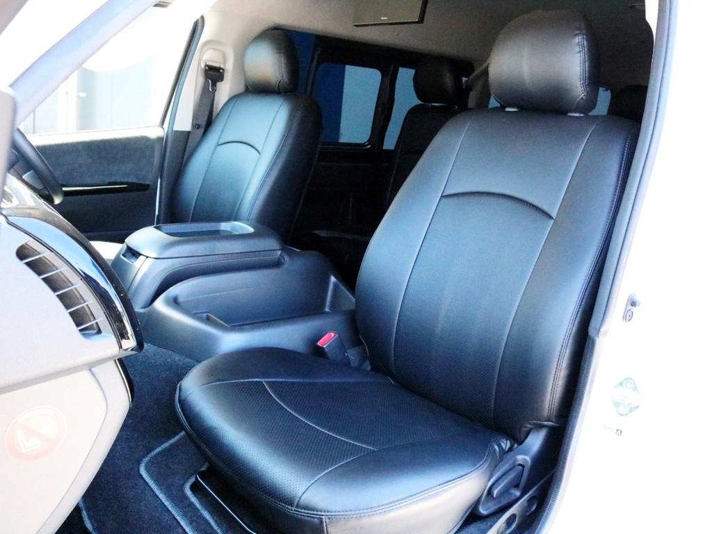 ブラックレザー調シートカバーを装着済み! 車内に高級感を演出すると共に純正シートの保護効果も期待出来ます。