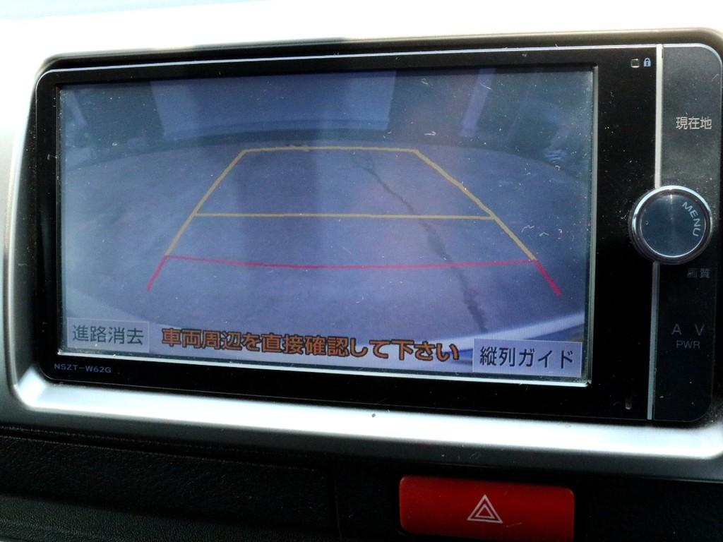 純正ナビNSZT-W62Gを搭載! バックカメラの映像はナビモニターに描写されます。