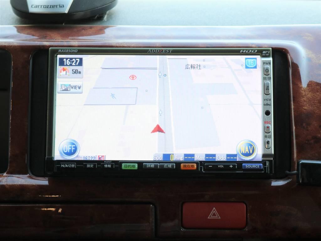 アゼスト製HDDナビ搭載で、知らない場所に行きたい時などにとても便利ですよ♪ | トヨタ ハイエース 2.7 DX ロング ミドルルーフ 4WD エアロツアラー