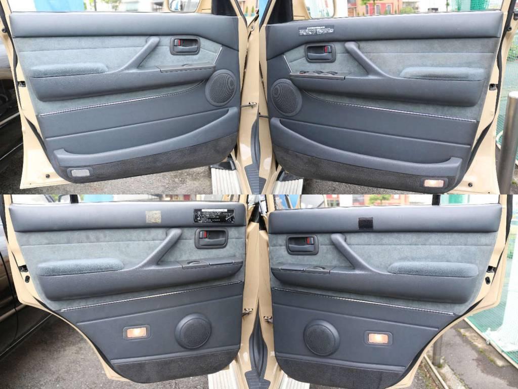 各所ドア内張りもキレイに保たれております☆ | トヨタ ランドクルーザー80 4.2 VXリミテッド ディーゼルターボ 4WD RENOCA 新品ナビ、Bカメラ