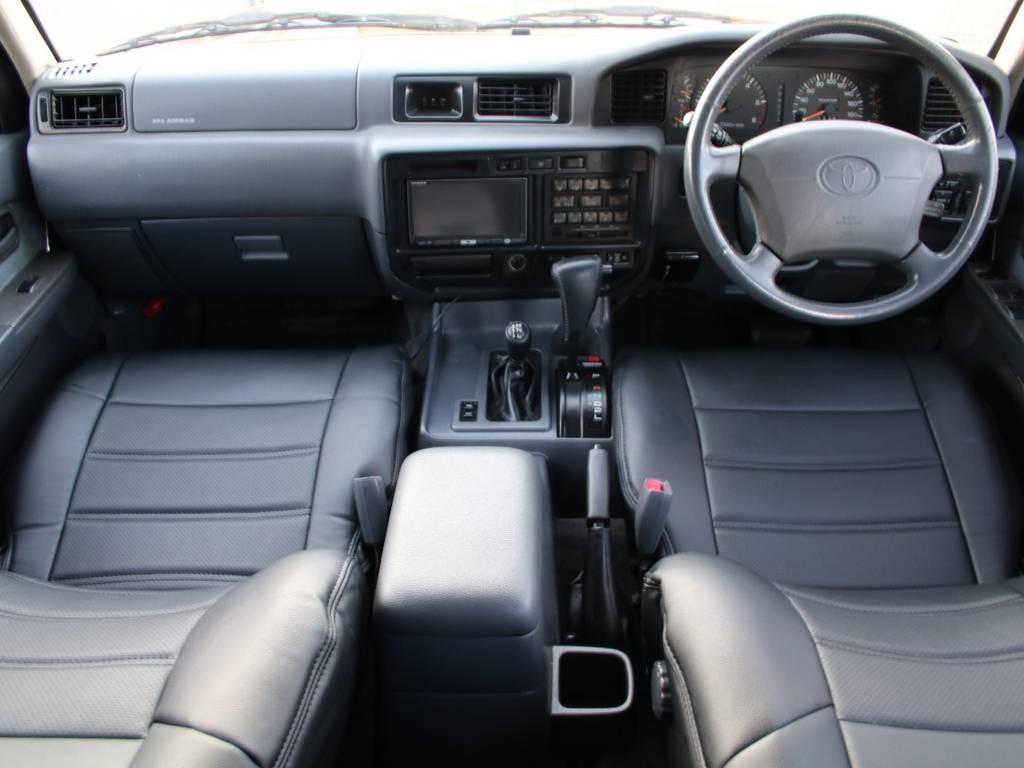 内装グレー基調☆キレイに保たれております☆新品ブラックシートカバー☆ | トヨタ ランドクルーザー80 4.5 VXリミテッド 4WD
