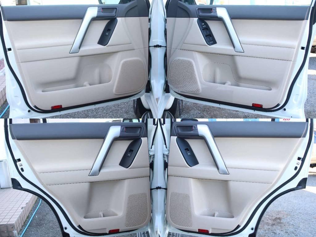 各所ドア内張も新車なのでキレイに保たれております☆ | トヨタ ランドクルーザープラド 2.8 TX ディーゼルターボ 4WD 5人 内装ベージュ WALDエアロ