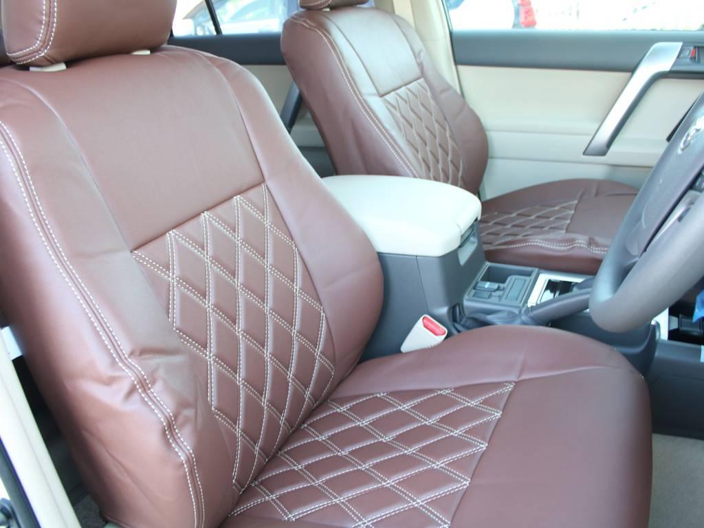 新品ブラウンシートカバー☆   トヨタ ランドクルーザープラド 2.8 TX ディーゼルターボ 4WD 5人 内装ベージュ WALDエアロ