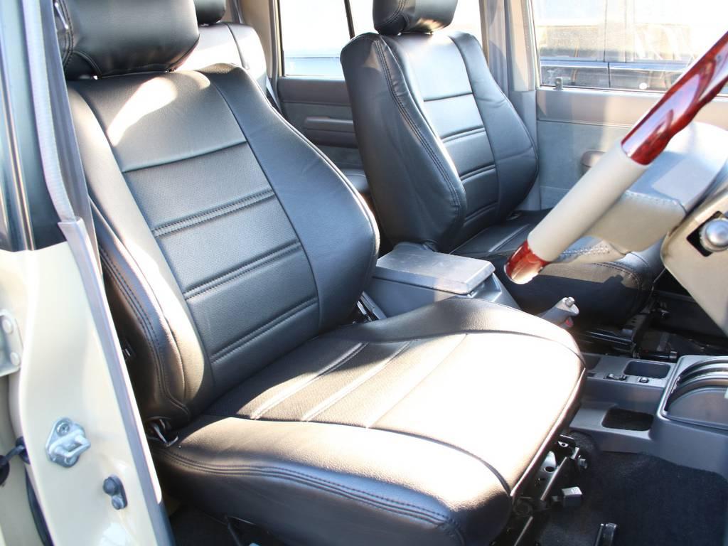 運転席は目立つヘタりなくキレイに保たれております☆新品ブラックシートカバー☆   トヨタ ランドクルーザープラド 3.0 EXワイド ディーゼルターボ 4WD