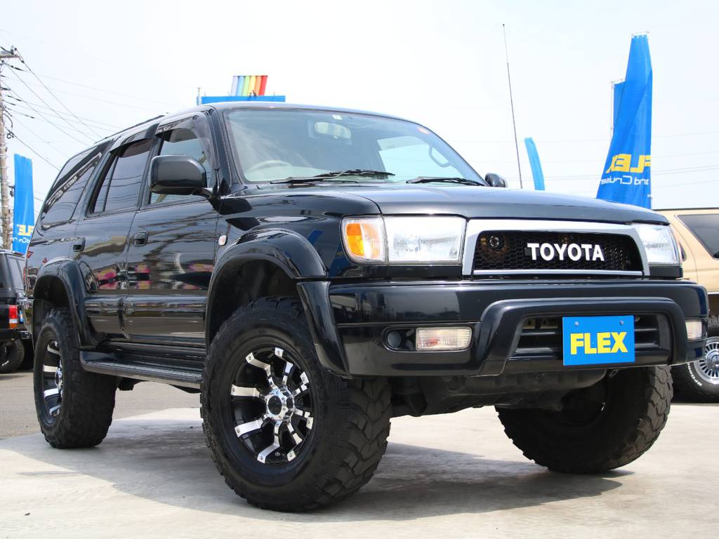 買取直販車の185サーフ、新入庫です☆ | トヨタ ハイラックスサーフ 2.7 SSR-X 4WD 背面レス リフトアップ MGホイール