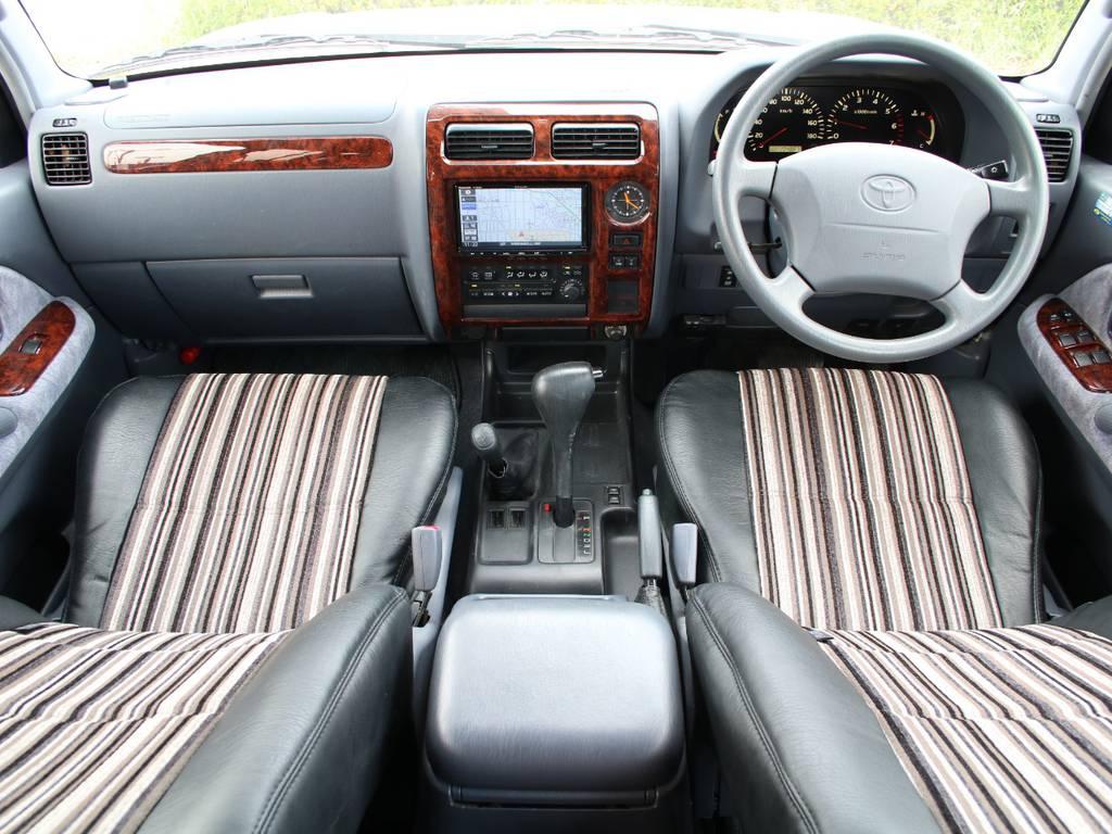 内装グレー基調☆キレイに保たれております☆新品シートカバー☆ | トヨタ ランドクルーザープラド 2.7 TX リミテッド 4WD 後期型 イモビ付きモデル