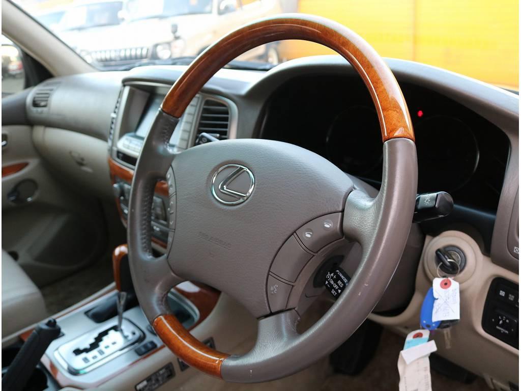 高級感漂うウッドステアリング♪ | トヨタ ランドクルーザーシグナス 4.7 4WD