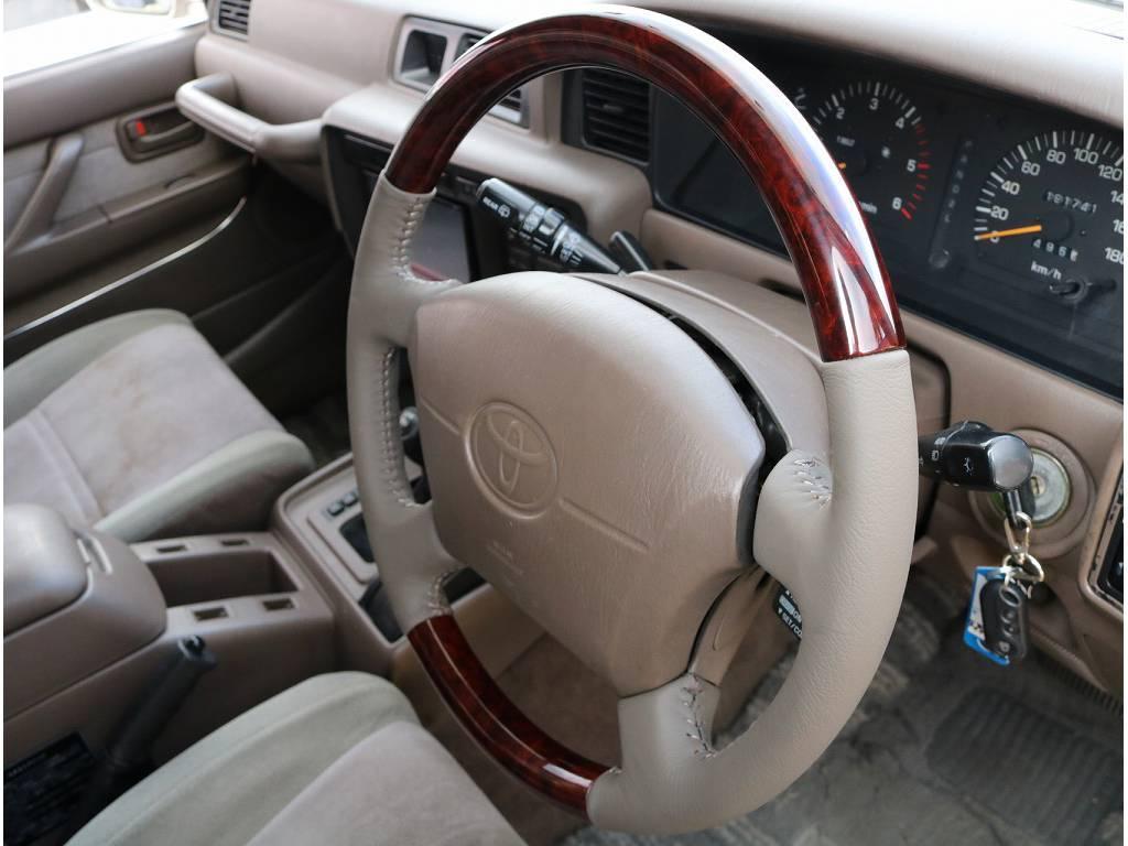 新品ウッドコンビハンドル装着済です♪ | トヨタ ランドクルーザー80 4.2 VXリミテッド ディーゼルターボ 4WD