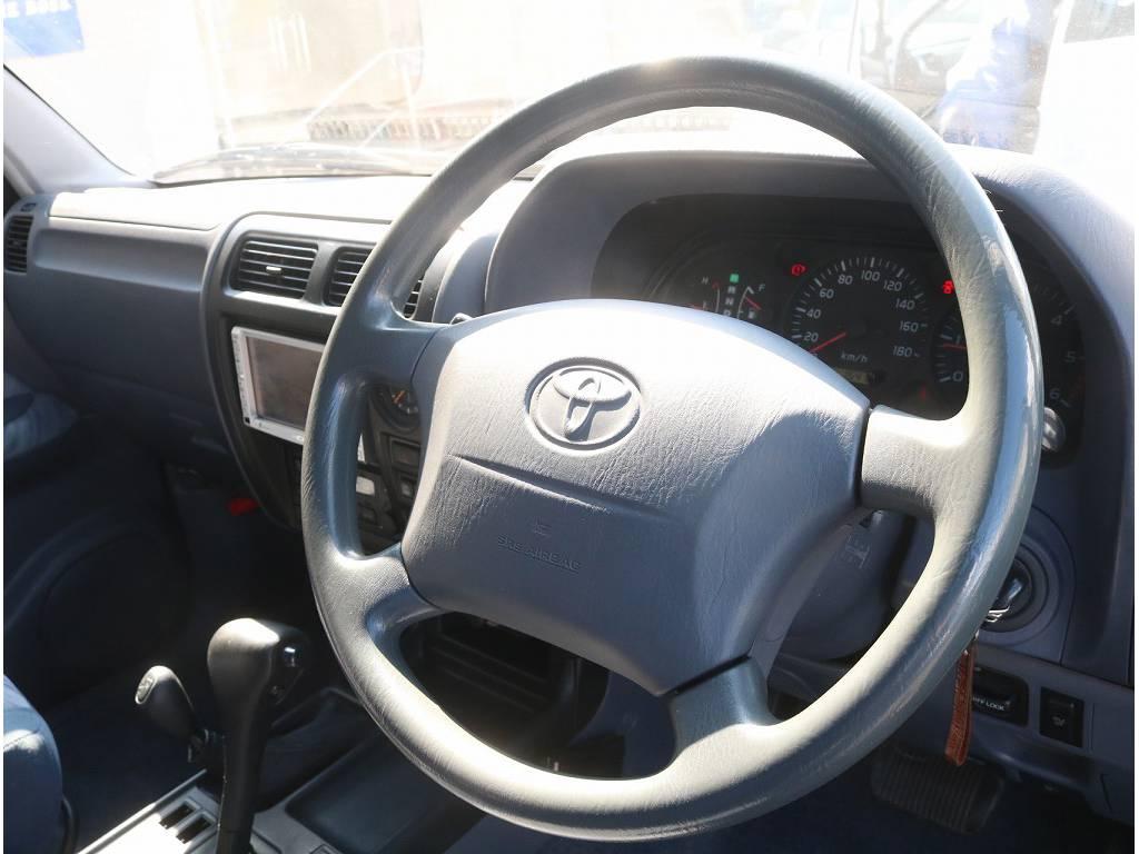 ハンドルの擦れも少なく、綺麗な状態です♪ | トヨタ ランドクルーザープラド 3.0 TX ディーゼルターボ 4WD