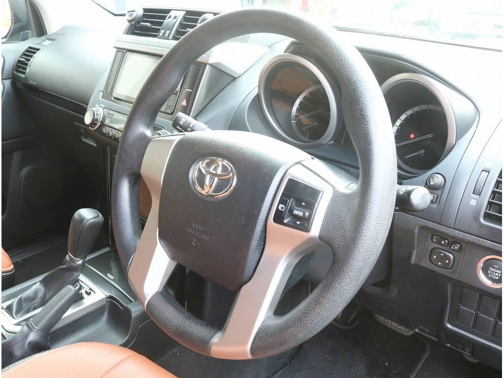 ステアリングリモコンも完備!! | トヨタ ランドクルーザープラド 2.7 TX 4WD
