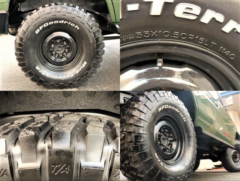 ホイールは鉄チンホイール、タイヤも大外形BFグットリッチを採用しております。