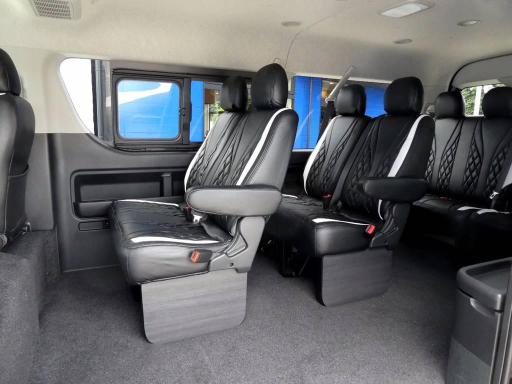 後席も当然!!宇都宮オリジナルカラーのラグジュアリーシートカバーをセット!! | トヨタ ハイエース 2.7 GL ロング ミドルルーフ