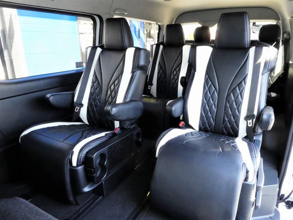 後席へも全席に宇都宮店オーダーカラーをラグジュアリーシートカバーをセットしました!! | トヨタ ハイエース 2.7 GL ロング ミドルルーフ 4WD ファインテックツアラー