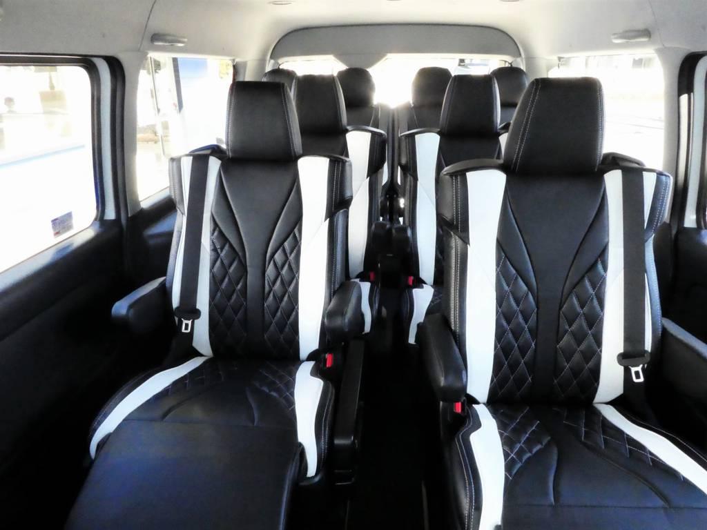キャプテンキャプテンシートは4脚すべて独立でロングスライドが可能です! | トヨタ ハイエース 2.7 GL ロング ミドルルーフ 4WD ファインテックツアラー