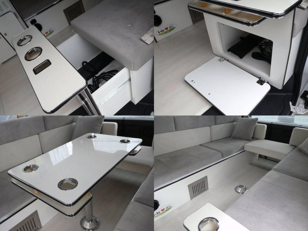 センターテーブル 収納もたくさんです!!   トヨタ ハイエース 2.7 GL ロング ミドルルーフ FFヒーター 1500W