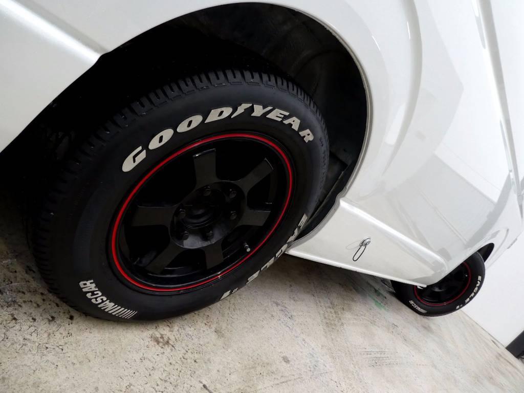 社外16インチアルミ ナスカーホワイトレタータイヤ!!   トヨタ ハイエース 2.7 GL ロング ミドルルーフ FFヒーター 1500W